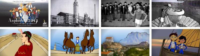 Fotogramas de la serie de dibujos animados Amphora 2017 dibujada por Kico F. Uribe de Evolutt Studio