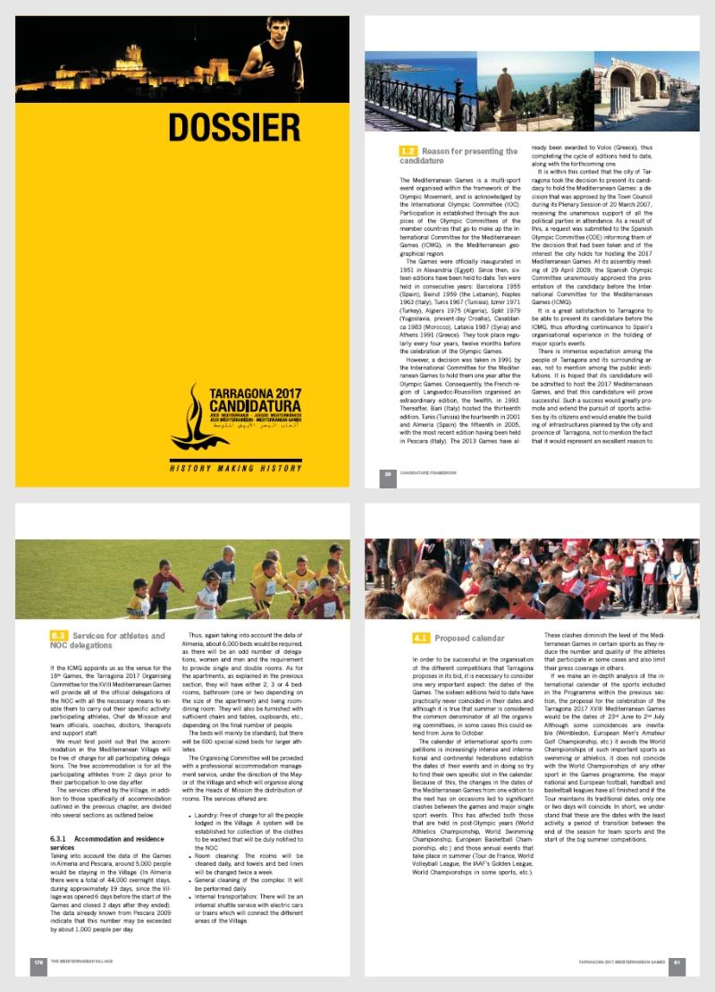 Diseño del Dossier de Candidatura realizado por Kico Uribe de Evolutt Studio para Tarragona 2017